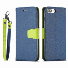 DELIVE iPhone 7 plus/8 plus Luxury Leather Phone Cover  Fashion Patchwork Cover Strap Soft Flip Wallet Case
