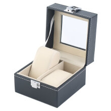Black Plain Pattern 2 Grid PU Leather Watches Display Case Boxes Storage Box Black