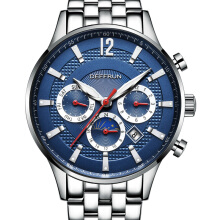 DEFFRUN DM0002 Moon Phase Calendar Automatic Mechanical Watches Business Style Men Watch Blue