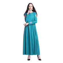 Ladies Long Sleeve Women Islamic Long Dress Muslim Robe Long Style Dress Navy Blue Size M