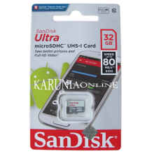 Microsd Sandisk Ultra 32Gb Up To 80Mb/S Class 10 Tanpa Adapter