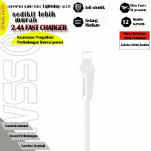 GOLFSPACE kabel data iPhone Handphone HP iPhone Cable Denim Braid USB  Fast Data Charging Cable- Putih GC27I