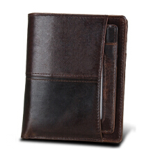 Zanzea Retro Genuine Leather RFID Antimagnetic Removable Card Holder Wallet For Men Coffee
