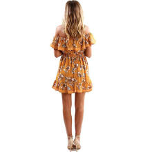 Maodapa Women Ladies Off Shoulder Butterfly Draped Dress Short Elegent Print Sundress