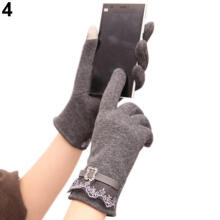 Farfi Winter Women Ladies Touch Screen Warm Lace Gloves Mittens for Cell Phone iPad Grey