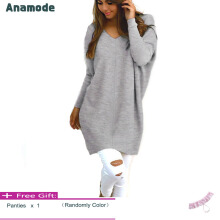 Anamode Women V Neck Sweater Long Sleeves Knitted Pullover Fashion Basic Knitwear -Grey -