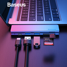 Baseus 5 in 1 HUB Adapter USB Type C to USB 3.0*2 / SD / TF Type C PD for Macbook Pro Accessories USB HUB for Samsung Note 9 S9+ - Grey