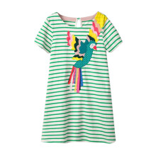BESSKY Toddler Baby Kid Girl Pattern Dress Short Sleeve Striped Dress Outfit Clothes_