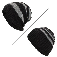 Zanzea 0051Winter Stripe Coral Fleece Double Layers Beanie Caps Outdoor Thicken Knitted Hat for Men Women Coffee