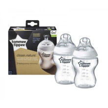[free ongkir]Tommee Tippee Closer to Nature 260ml Bottles (2-pack) with Nature Slow Flow Teat 0m+