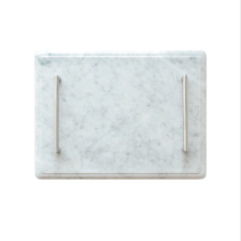 GLERRY HOME DÉCOR Serving Tray White Moonstone Marble - 40x30Cm