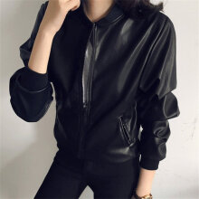 [OUTAD] Autumn Women Vintage Solid Color Long Sleeve Stand Collar Coat Leather Jacket Black Black