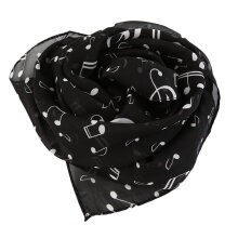 [COZIME] Musical Note Lightweight Chiffon Scarf Comfortable Casual Women Scarf black