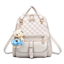 New Durable PU Leather Backpack With Lovely Bear Pendant