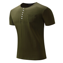 Fashionmall Mens Summer Cotton Buttons Solid Color Short Sleeve O-neck Casual T-shirt