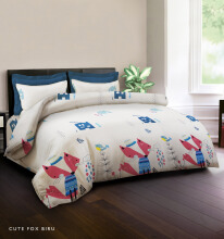 KING RABBIT Bedcover Double Motif Cute Fox- Biru/ 230 x 230cm Blue