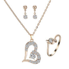 Farfi Luxury Love Heart Pendant Rhinestone Necklace Ring Earrings Women Jewelry Set Golden