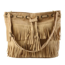 [LESHP]Women Imitation Suede Fringe Tassel Shoulder Bag Handbags Messenger Light Brown