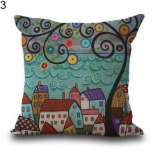 Farfi European Building Style Decorative Linen Cotton Cushion Pillow Cover Home Decor