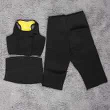 [COZIME] 3Pcs Hot Shaper Slimming Fitness Sportswear WaistBelt Pants Vest Set Black And Yellow1