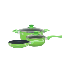 DYNASTY Non Stick Cookware 5 Set Pcs (3 Panci + 2 Tutup Kaca) - Green