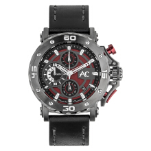 Alexandre Christie AC 9205 MC LIGRE Man Red Dial Black Leather Strap [ACF-9205-MCLIGRE]