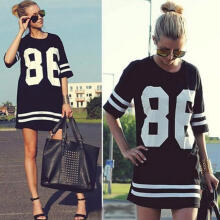 Farfi Women Oversized 86 American Baseball Style Tee T-shirt Top Varsity Loose Dress