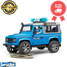 Bruder Toys 2597 - Land Rover Defender Station wagon police vehicle (blue silver) w/ policeman & accessories