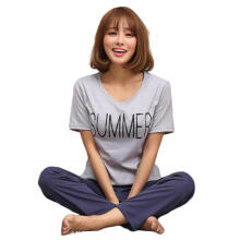 Farfi Women's 2 Pcs Top Pants Sleepwear Set Short Sleeve Summer Letter Pajamas Suit