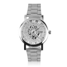 [LESHP]Fashion Men's Metal Band Stainless Steel Hollow Pattern Quartz Wrist Watch Silver
