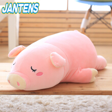 Jantens 1PC super cute sleeping pig plush toy filled soft toy doll child baby kawaii girl toy Pink
