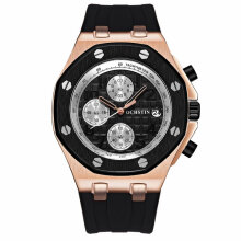 OCHSTIN 6100 Water-resistant Quartz Movement Luminous Man Wristwatch Calendar Rose Gold & Black