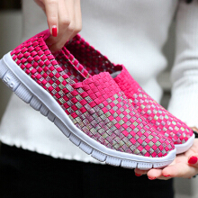 Zanzea Breathable Woven Sneakers Slip On Colorful Casual Shoes For Women Blue 40