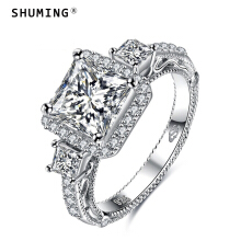 ShuMing-Korean jewelry 925 sterling silver inlaid zircon ring