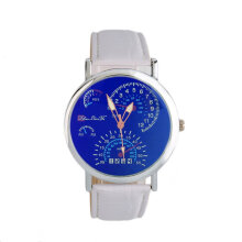 [LESHP]Fashion Quartz Wrist Watch With Analog Round Dial And Leather Band White