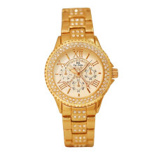 A02050 Shiny Zircon Inlaid Lady Wristwatch Waterproof Female Quartz Watch Gold