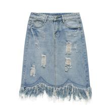 Jantens High waist hollow denim skirt female summer fashion new women solid color skirt blue skirt women tassel