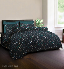 KING RABBIT Bedcover Single Motif Kata Night - Biru/ 140 x 230cm Blue