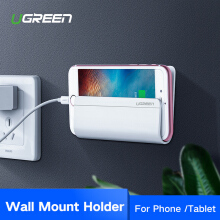 UGREEN Wall Mount Phone Holder with Adhesive Strips, Charging Holder for iPhone, iPad and More Other Smartphone and Tablet White