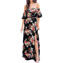 BESSKY Womens Maxi Long Dress Off Shoulder Flower Print Short Sleeve Casual Dress_