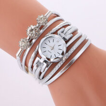Women Diamond Braided Leather Analog Quartz Bracelet Bangle Wrist Watch white