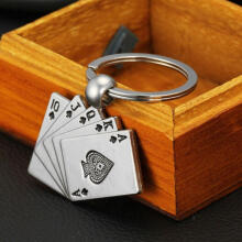 Farfi Creative Silver Tone Metal Poker Card Key Chain Ring Keychain Gift Bag Pendant as the pictures