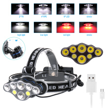 Boruit 2*T6+4*XPE+2*COB 8 LED MICRO USB Headlamp Headlight Head Torch Lamp  Riding  adventure Camping mountain climbing