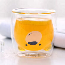 UCHII Double Wall Mug Glass Milk Cup Smile Bear Face - Gelas Susu Anak