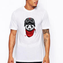 Farfi Men's Cartoon Panda Print T-Shirt Summer Casual Round Neck Tee Top