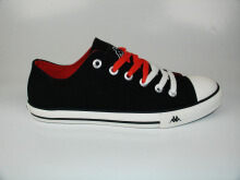 Kappa New Simple Low Sepatu Kanvas - Black/Orange