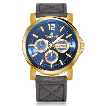 TIMEZONE Men's Leather Strap Quartz Watch 0913G-GD