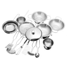 16PCS Mini Stainless Steel Kitchen Cooking Kit Play Toys Cookware Pots Pans Gift