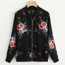 BESSKY Womens Retro Floral Printing Zipper Up Bomber Jacket Casual Coat Outwear_