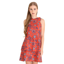 Rianty Batik Dress Wanita Flower Leila - Red
